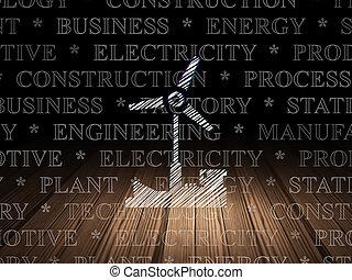 風車, グランジ, 部屋, manufacuring, 暗い, concept: