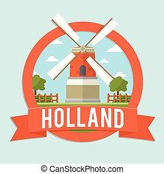 風車, バッジ, オランダ, リボン