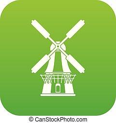 風車, ベクトル, 緑, アイコン