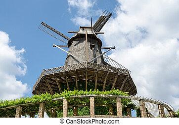 風車, ヨーロッパ, 古い, 公園, sanssouci, ポツダム, ドイツ