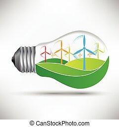 風車, ライト, 考え, ベクトル, 電球, 味方, 環境的に