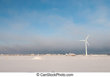 風車, 以及藍色, 天空, 在, 冬天