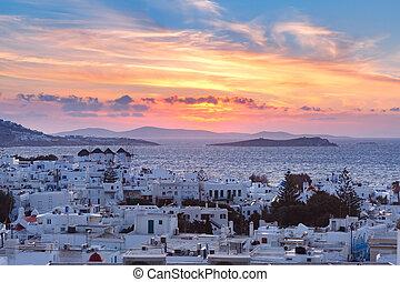 風車, 伝統的である, mykonos, ギリシャ, 白, 日没
