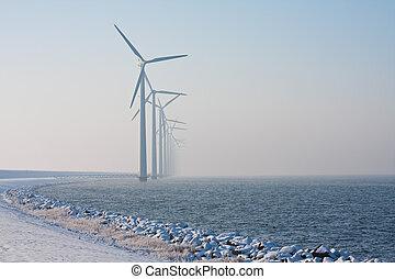 風車, 冬, 霞, 姿を消す, オランダ語, 横列