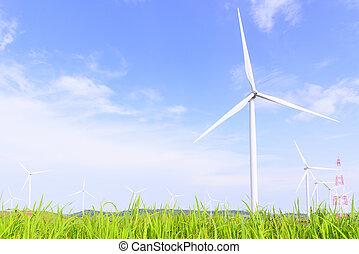 風車, 前景, 大きい, 青い空, フィールド, タービン, 草