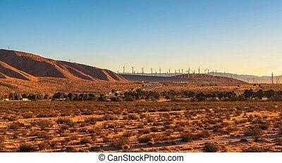 風車, 加利福尼亞, 沙漠, mojave, 向前, 高速公路