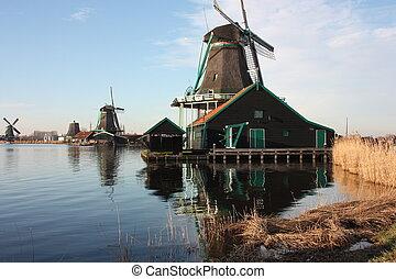 風車, 古代, zaanse, 作られた, 仕事, オランダ語, wood., schans, 村, 古い, netherlands., 川, 道具, 構造, 典型的