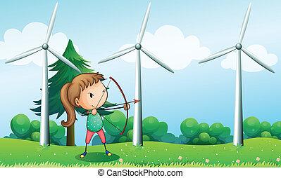 風車, 射手, 女の子