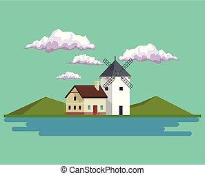 風車, 山, 家, 湖, 日中, 背景, 風景