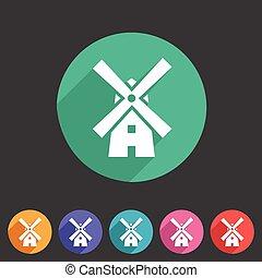風車, 平ら, セット, 網, シンボル, 印, ロゴ, 製粉所, ラベル, アイコン