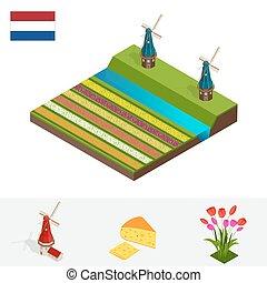 風車, 平ら, 等大, オランダ, チューリップ, チューリップ, イラスト, 花, ベクトル, シンボル, オランダ語, netherlands., flag., カラフルである, 風車, チーズ, 3d
