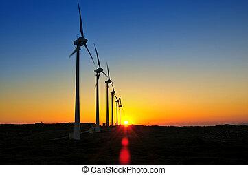 風車, 日没