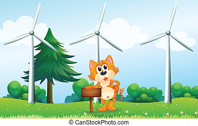 風車, 木製である, 看板, tiger, 保有物, 空