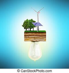風車, 概念, きれいにしなさい, 電池, クラッチ, エネルギー, ernder, 接続される, 太陽, 電球, 地面, 3d