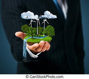 風車, 緑の採草地, 保有物, 人