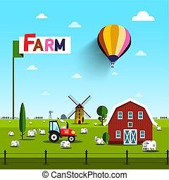 風車, 藍色, 農場, 天空, 拖拉机, 矢量, 綠色, 上面, 鄉村, barn., 母牛, 風景, field.