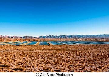 風車, 農場, mojave, 水, 水庫, 向前, 沙漠, 高速公路