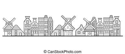 風車, 都市, スタイル, netherlands, 家, アムステルダム