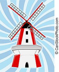 風車, 青, 渦巻, backg, 白い赤