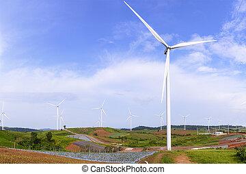 風車, 青, 農場, 大きい空, タービン