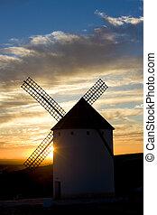 風車, campo, de, castile-la, criptana, mancha, 日没, スペイン