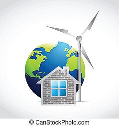 風車, eco, デザイン, イラスト, 家
