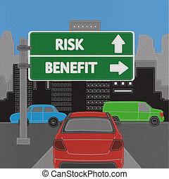 風險, 以及, 好處, 高速公路 簽署, 概念, 由于, 縫線, 風格, 上, 織品, 背景