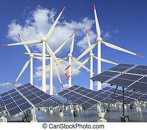 風, エネルギー, パネル, タービン, 太陽