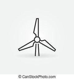 風, ベクトル, エネルギー, アイコン, 変換器, アウトライン, 概念