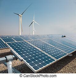 風, 太陽エネルギー, 農場, パネル