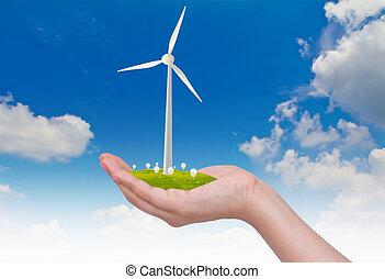 風, 手, 空, 電球, タービン, 上に, 淡いブルー