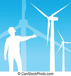 風, 電, 發電机, 矢量, 背景