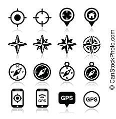 風, gps, ナビゲーション, バラ, コンパス