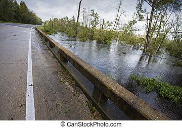 颶風, 佛羅倫薩, 大約, 水, 橋梁, 淹沒