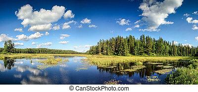 风景。, 湖, 反映, 云, 镜子, 安大略, canada., 蓝色