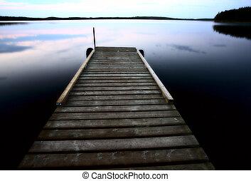 风景, 湖, 船坞, smallfish, saskatchewan, 船