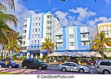 风格, 南方, deco, 迈阿密, 艺术, 房子, 美丽
