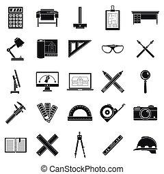 风格, 图标, 放置, 工具, 简单, 建筑师