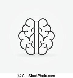 风格, 概念, outline, 头脑, 签署, 脑子, 矢量, 稀薄, icon., 线