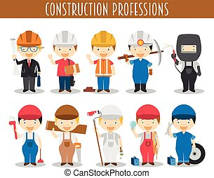 风格, 矢量, 放置, 职业, 建设, 卡通漫画