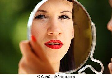 风格, 运用, 做, 室内, , 看, retro, 镜子, 女孩