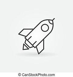 风格, outline, 火箭, , 签署, 开始, 矢量, 稀薄, icon., 线