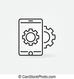 风格, smartphone, 齿轮, 矢量, 稀薄的线, 图标