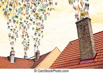 飛ぶ, お金, の上, 煙突, たくさん, ユーロ
