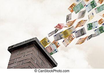飛ぶ, 煙突, の上, たくさん, euros