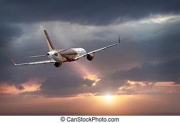 飛ぶ, 飛行機, 空, 嵐である