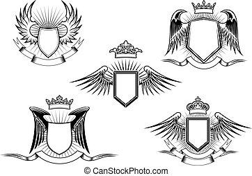 飛ぶ, heraldic, セット, 保護