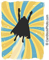 飛ぶ, superhero, シルエット