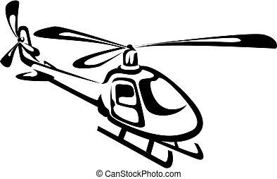 飛んでいるヘリコプタ