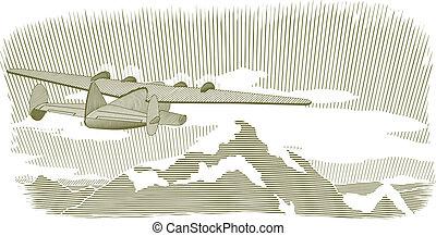 飛剪機, 木刻, 場景, vignette